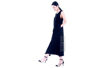 女装黑色禪衣麻衣長裙2294