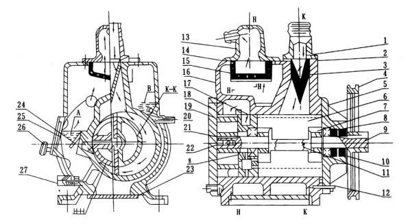 2X型旋片式真空泵剖面图