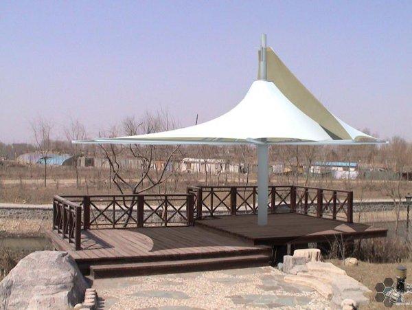 西宁公园膜结构造型两片膜伞亭