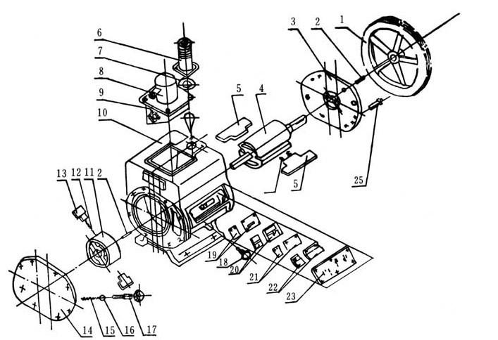 2X型旋片式真空泵整体机构图