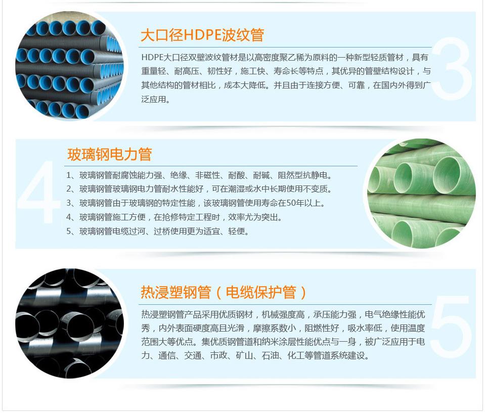 大口径HDPE波纹管,玻璃钢电力管,热浸塑钢管