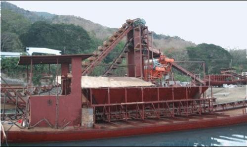 采金船的开采选矿的工艺流程